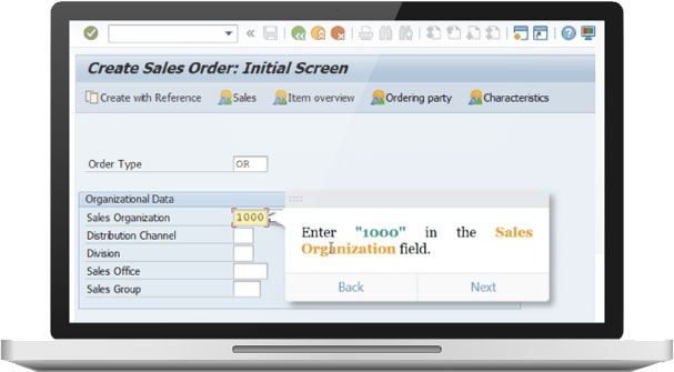 OnScreen provides contextual guide walkthroughhelp to business users directly in the SAP GUI